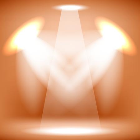 spot lit: Spotlights Isolated on Orange Background. Stage Spotlight Background