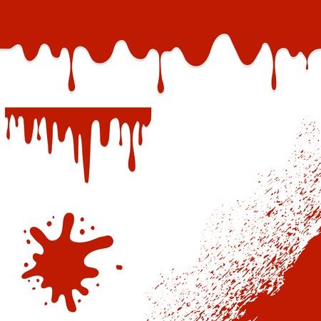 Set of Blood Splatters Isolated on White Background.