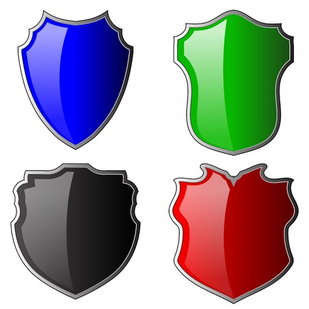 honour guard: Set of Colorful Shields Isolated on White Background
