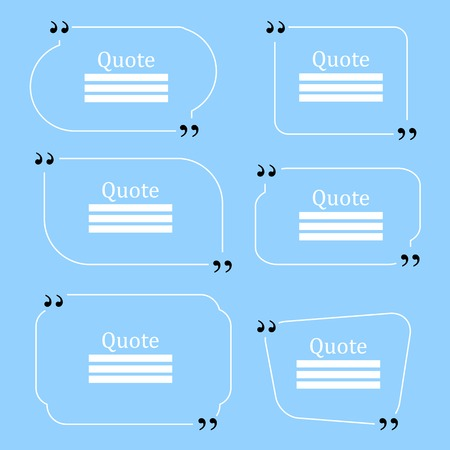 citing: Quote Bubble. Speech Bubble. Empty Template on Blue Background