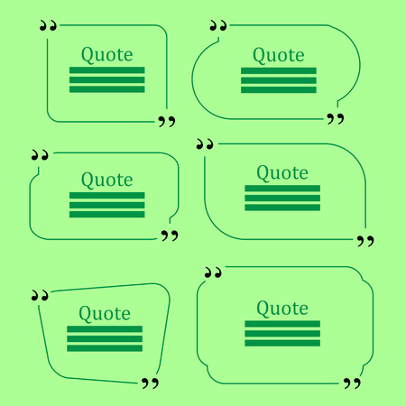 citing: Quote Bubble. Set of Speech Bubbles. Empty Templates on Green Background Stock Photo