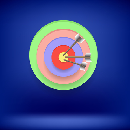 achieving: Arrow Hit Right on Target. Target Concept on Blue Background. Achieving Goal