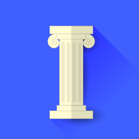 greek column: Single Greek Column Isolated on Blue Background. Long Shadow