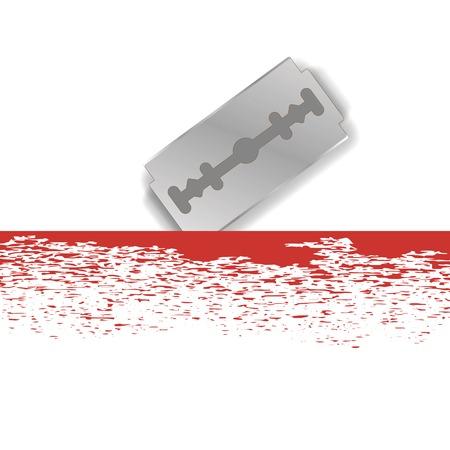 dissect: Realistic Razor Blade Icon on White Background