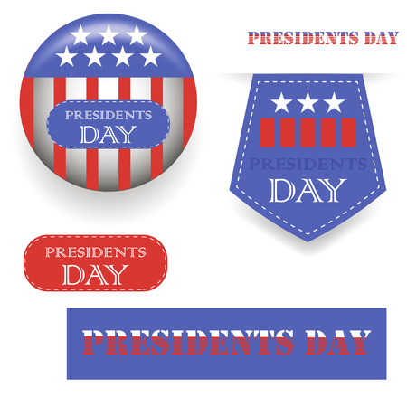 president's day: Presidents Day Icons Isolated on White Background Illustration