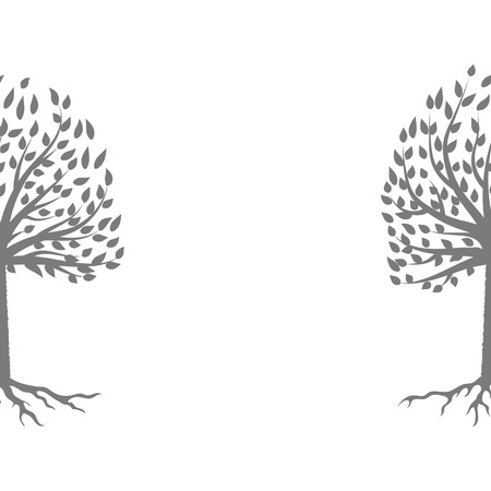 fall winter: Tree Gray Silhouette Isolated on White Background Illustration