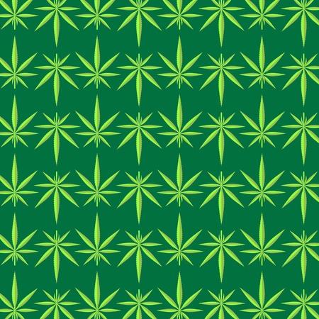 Green Cannabis Leaves Background. Green Marijuana Pattern Illustration