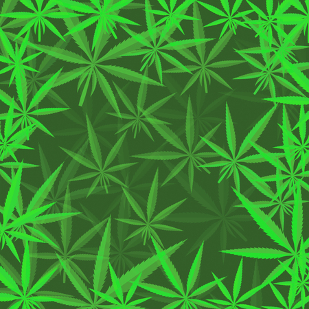 Green Cannabis Leaves Background. Green Marijuana Pattern Ilustração
