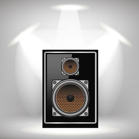Musical Black Speaker on Light Gray Background