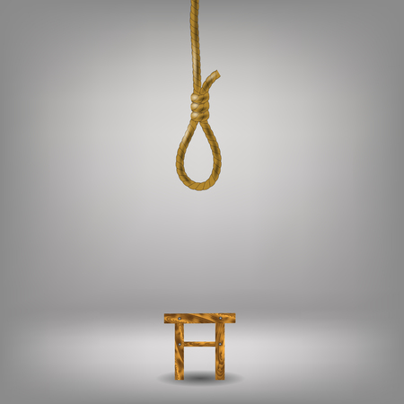 noose: Vertical Rope Loop on Gray  Blurred Background. Noose and Stool Illustration