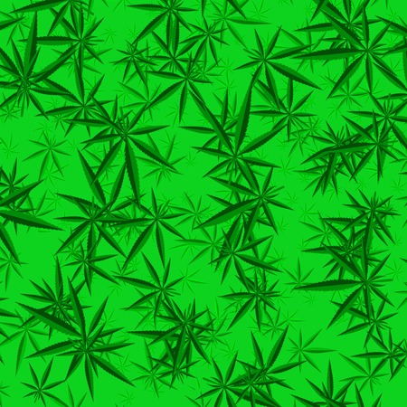 tetrahydrocannabinol: Green Cannabis Leaves Background. Green Marijuana Pattern Illustration