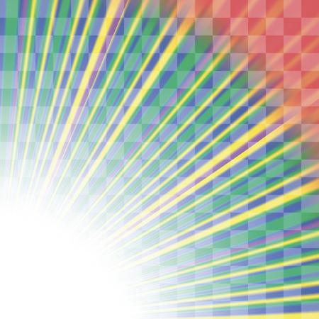 lighted: Transparent Colorful Rays. Colored Rays Pattern. Burst of Star Illustration