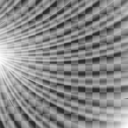 the light rays: Transparent Light on Gray Checkered Background. Blurred Sun Rays.