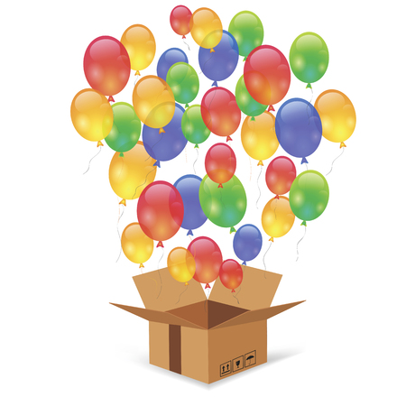 cardbox: Cardbox and Colorful Balloons Isolated on White Background. Single Open Paper Box Illustration