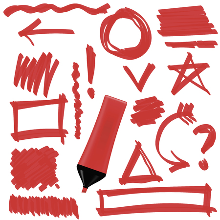 doodled: Red Marker Isolated on White Background. Set of Graphic Signs. Arrows, Circles, Correction Lines Illustration