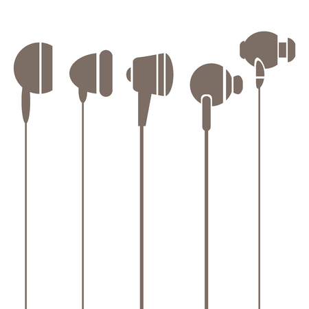 earphones: Earphones  Silhouettes Icons Isolated on White Background