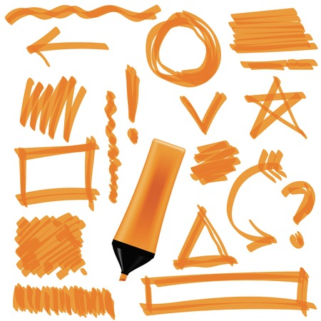 pen and marker: Orange Marker Isolated on White Background. Set of Graphic Signs. Arrows, Circles, Correction Lines