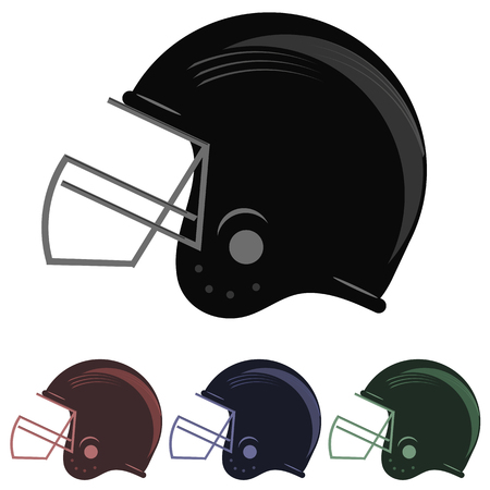 facemask: Set of Colorful Football Helmet Icons Isolated on White Background