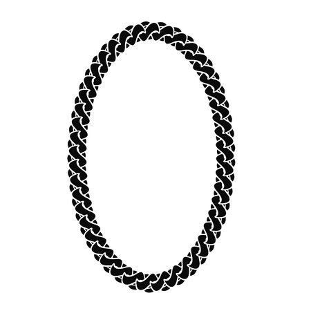 oval frame: Black Chain Oval Frame Isolated on White Background Illustration