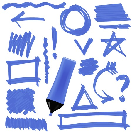 correction lines: Blue Marker Isolated on White Background. Set of Graphic Signs. Arrows, Circles, Correction Lines