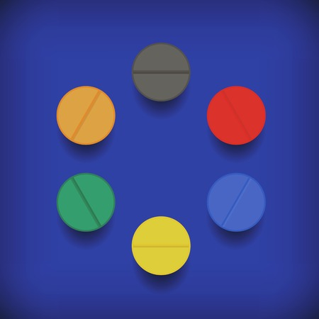 blue pills: Set of Colorful Pills Isolated on Soft Blue Background Illustration