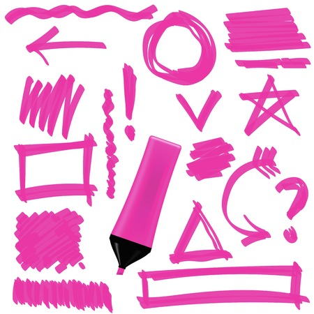 correction lines: Pink Marker Isolated on White Background. Set of Graphic Signs. Arrows, Circles, Correction Lines Illustration
