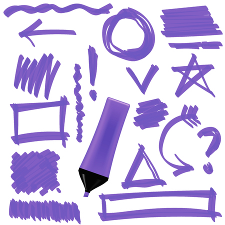 correction lines: Purple Marker Isolated on White Background. Set of Graphic Signs. Arrows, Circles, Correction Lines