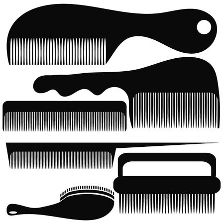 combs: Set of Different Combs Silhouettes Isolated on White Background
