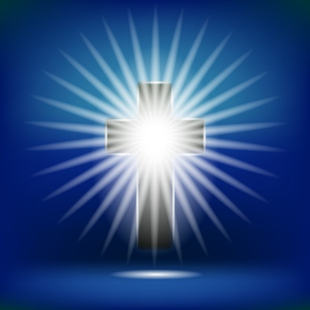 hope symbol of light: Shining Cross Isolated on Soft Blue Background Stock Photo