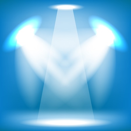 award lit: Spotlights Isolated on Blue Background. Stage Spotlight Background Stock Photo