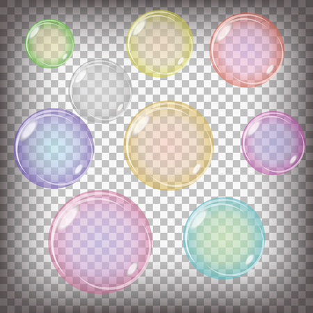 checkered background: Set of Colorful Transparent Bubbles Isolated on Grey Checkered Background Stock Photo