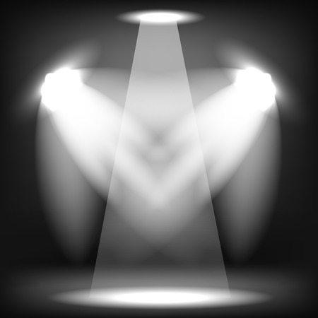 Spotlights Isolated on Black Background. Stage Spotlight Background
