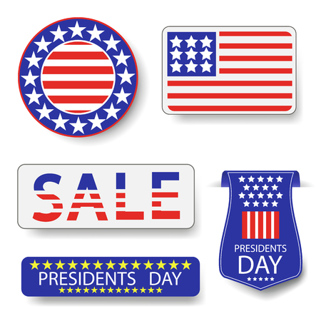 presidency: Presidents Day Icons Isolated on White Background Stock Photo