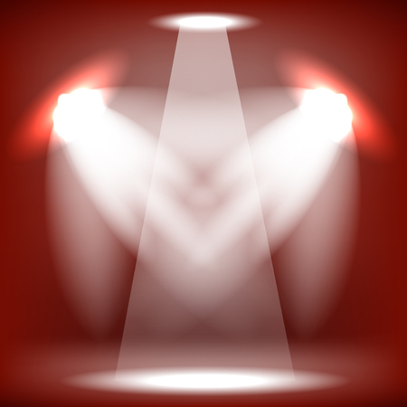 spot lit: Spotlights Isolated on Red Background. Stage Spotlight Background Stock Photo