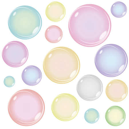 vasos de agua: Conjunto de burbujas de jabón de colores aislados sobre fondo blanco