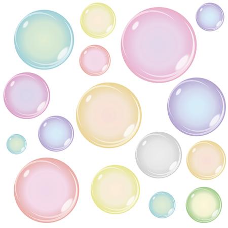 bulles de savon: Ensemble de couleur Soap Bubbles isolé sur fond blanc