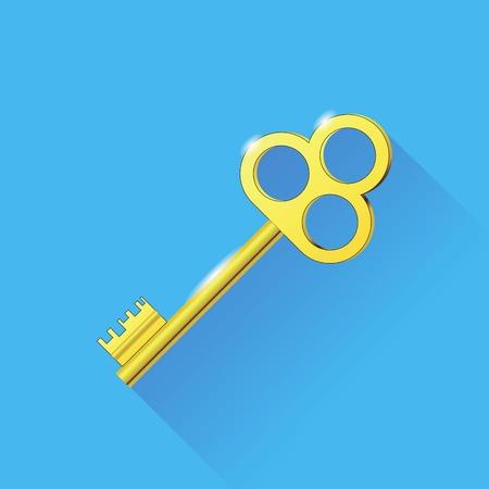 gold key: Yellow Key Isolated on Blue Background. Long Shadow. Old Gold Key Stock Photo