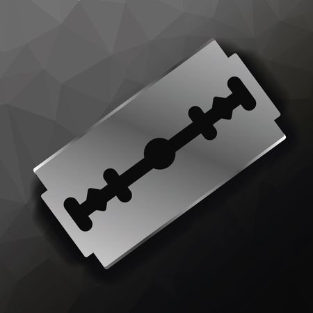 blade: Metal Razor Blade on Dark Polygonal Background