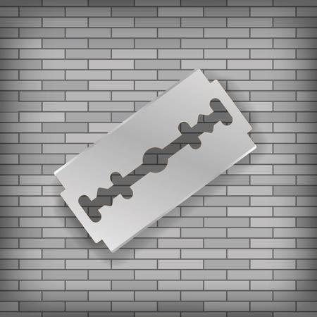 lacerate: Realistic Razor Blade Icon on Gray Brick Background