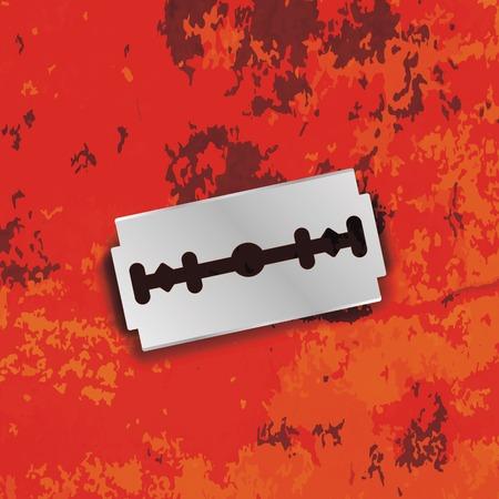 dissect: Razor Blade Icon on Grunge Red Background