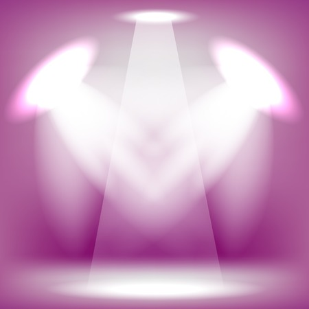 Spotlights Isolated on Pink Background. Stage Spotlight Background