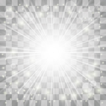 lighted: Transparent Light on Gray Checkered Background. Blurred Sun Rays.