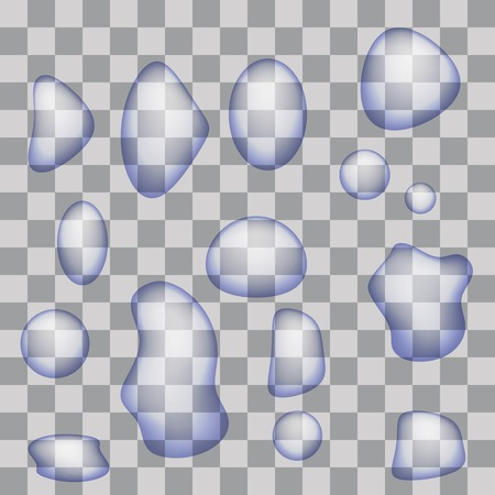 wetness: Set of Transparent Water Drops Isolated on Gray Checkered Background