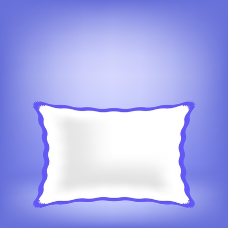 headboard: White Soft Pillow Isolated on Blue Blurred Background