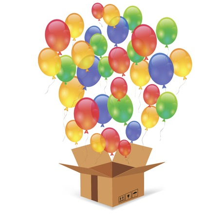 cardbox: Cardbox and Colorful Balloons Isolated on White Background. Single Open Paper Box Stock Photo