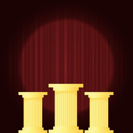 pillars: Yellow Marble Greek Columns on Dark Red Wave Background. Ancient Pillars