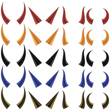 horns: Set of Different Colorful Horns Isolated on White Background