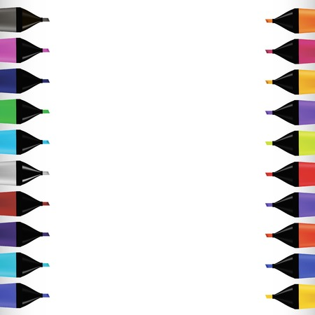 od: Set od Colorful Markers Isolated on White Background. Office Tools. Stock Photo