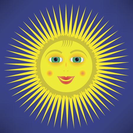 sky sun: Yellow Cartoon Sun Icon Isolated on Blue Sky Background