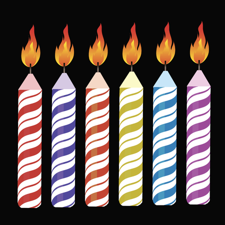 lit collection: Set of Colorful Burning Retro Candles Isolated on Black Background
